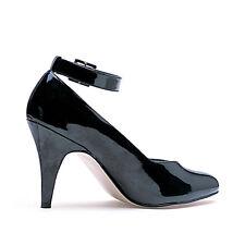"Business Casual Ankle Strap PUMPS ""d"" Width High HEELS Shoes Adult Women 15 Black"