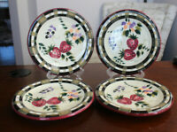 "Oneida Strawberry Plaid Handpainted 8"" Salad Bread Dessert Plates Set of 4 GUC"