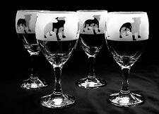 More details for staffordshire bull terrier wine glasses set of four..boxed