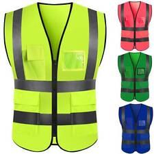 Mens Hi Vis Viz Vest High Visibility Waistcoat with Phone & ID Pockets Orange