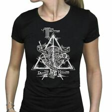 Women's Harry Potter Deathly Hallows 3 Brothers Black Fitted T-Shirt