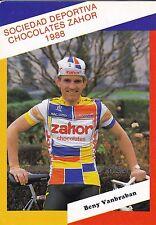 CYCLISME carte cycliste BENY VANBRABAN équipe ZAHOR chocolates 1988