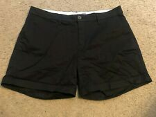 OLD NAVY Everyday Stretch Cotton Black Flat Front Casual Shorts womens 8