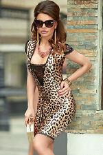 Abito aperto aderente nudo pizzo ricamo Lace Bodycon Leopard dress clubwear
