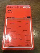 """1960s Old Vintage OS Ordnance Survey 1"""" Map Sheet 97 York"""