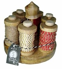 Made in India set of 6 Ribbon Twine Rope Total 30 yards Tan Red +  Wood Display