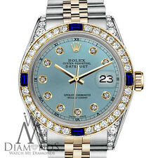 Rolex 26mm Datejust 2 Tone Ice Blue Dial Accent RT With Sapphire & Diamond