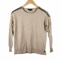 J Crew Womens Sweater Size XS Zippered Shoulder Tan Brown Merino Wool