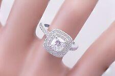 14k White Gold Cushion Cut Diamond Engagement Ring Soleste Style Halo 1.85ctw