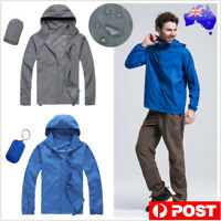 Unisex Running Rain Coat Lightweight Windproof Cycling Hiking Waterproof Jacket