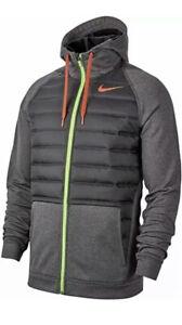 Nike Men's Therma Winterized Full Zip Training Hoodie Black Green XL BV6298-032