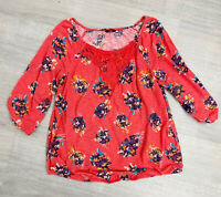 F&F Ladies 3/4 Top Orange Floral Size 20 Autumn Fashion Casual