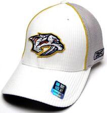 Nashville Predators NHL Reebok White Gray Mesh Back Hat Cap Flex Fit OSFA Adult
