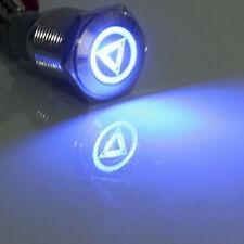 16mm 12V LED Licht tastender Knopf Metallschalter Blau Lautsprecher Gefahr HY