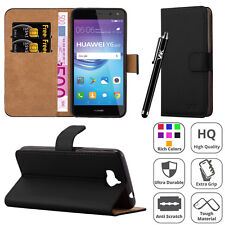 Leather Wallet Flip Book Stand View Case Cover for Huawei Y6 2017 Mobile Phone Black