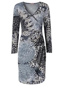 Ex Joe Browns Grey Leaf Print Soft Stretch Jersey Ruched Wrap Dress 12 14 16 18