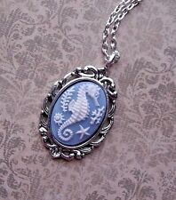VINTAGE STYLE seahorse blue horse sea SILVER ANTIQUE HEART CAMEO NECKLACE