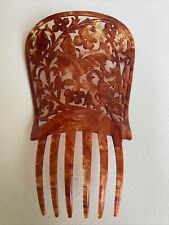 Vintage Faux Tortoise Shell Hair Comb Spain Large 7� Hand Carved