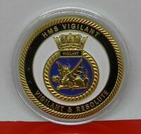 Gold Plated Medal Medallion Royal Navy HMS Vigilant Nuclear Submarine Ship COA