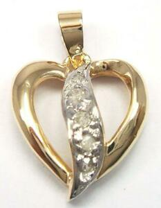 SYJEWELLERY LOVELY 9CT SOLID YELLOW GOLD NATURAL 5 DIAMONDS HEART PENDANT P934