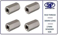 M10 (10MM) STAINLESS STEEL STUD CONNECTOR HEX DEEP NUT 30MM LONG A2 ST/STEEL