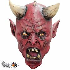 Boys Kids Latex Uzzath Satan Devil Demon Halloween Horror Scary Fancy Dress Mask