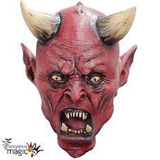 Boys Kids Latex Uzzath Satan Devil Demon Halloween Horror Scary Fancy Dress Mask