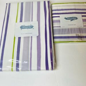The Land Of Nod Pillow Case & Curtain Panel Purple Stripe La Ctrs Cotton New