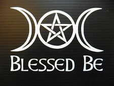 """Blessed be Triple moon Pentagram""gods myths stickers/car/van/window/ 5115 white"