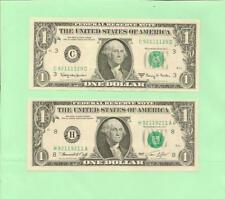 MATCHING 92111129 & 92119211 .... UNCIRC...  1963A  & 1974 $1  TRUE RADAR/REPEAT