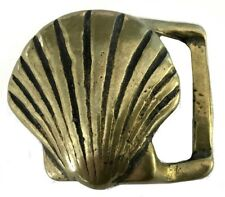 Vtg Shell Belt Buckle Solid Brass Handmade Art Beach Nautical Clam Oyster Golds
