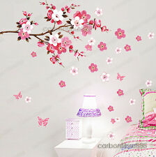 Grandi Peach Blossom Fiore Farfalla Adesivo Parete Arte Decalcomania HOME Room Decor