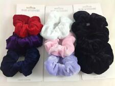 3PK VELVET SCRUNCHIE BLACK WHITE PINK LILAC NAVY BURGUNDY RED