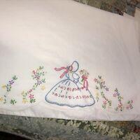 Vintage Hand Embroidered Bonnet Girl Pillowcase Standard Scalloped Edge White