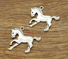 15 Pony Charms Horse Animal Charm Jewelry Charms Antique Silver Tone 27x23 2209