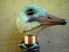 Orig HandMade dark Walnut *OSTRICH BIRD CANE* walking stick copper collar~gift