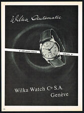 1950's Old Vintage 1956 Wilka Automatic Swiss Watch Co Mid Century Art Print AD