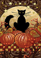 NEW TOLAND AUTUMN FALL GARDEN FLAG 12.5 x 18 THE MOONLIGHT BLACK CAT & PUMPKINS