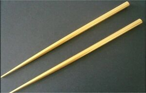 Japanese 2 pcs. Stick Kanzashi Gold Wood Lacquer Chopsticks Hair Ornaments