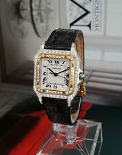 GENUINE CARTIER LADIES / UNISEX PANTHERE 18K GOLD DIAMONDS HIGH END WATCH VIDEO