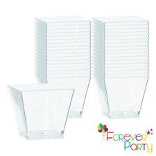 50Pcs Square Plastic Dessert Cups Mini Cubes 2oz/60ml + 4oz/120ml Strong Cup UK