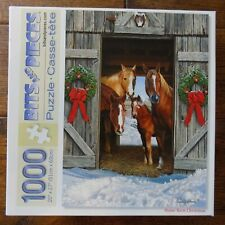 Bits and Pieces 1000 Piece Puzzle Horse Barn Christmas Russell Cobane