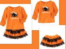 NWT Gymboree Fall Festival Halloween Black Tutu Skirt Leggings Stripe Girl 3-6 M