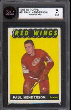 1965-66 TOPPS HOCKEY #51 Paul Henderson Rookie KSA 5 EX Cond Red Wings RC Card