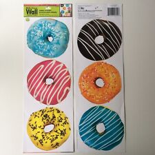 """Donut Wall Stickers Set of 6 Jumbo 5"""" Removable Donut Shop Kids Kitchen Fun NEW"""