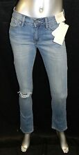 CALVIN KLEIN NWT Blue Low Rise Distressed Straight Leg Jeans Womens sz 26 (2)