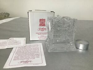 Gorham Holiday Traditions Crystal Glass Christmas House Tea Candle Holder in Box