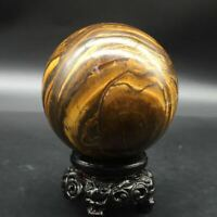 Natural Tiger's Eye Quartz Crystal Sphere Ball+Stand Healing Decoration 68mm