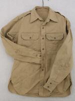 Vtg 1950s US ARMY NAVY Korea Vietnam Khaki Enlisted Officer 8.2Oz Shirt 15 34