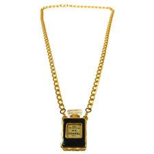 CHANEL Vintage CC Logos Gold Chain Perfume Pendant Necklace RARE!! AK35588i